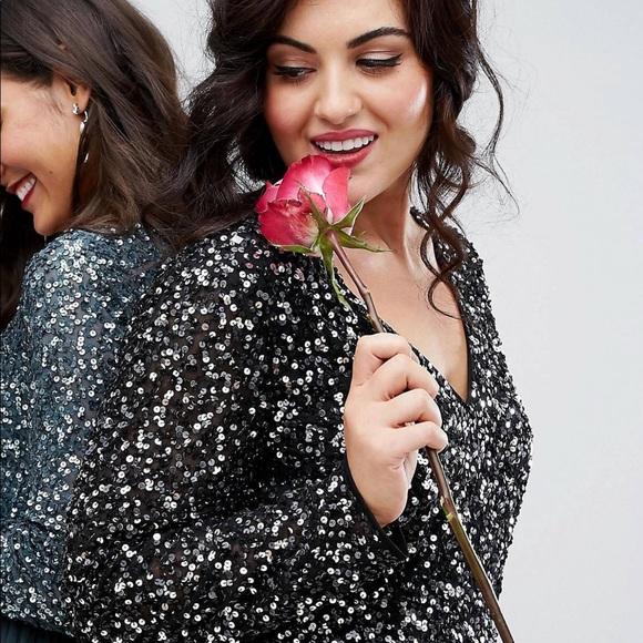 7f03b59b9 ASOS Dresses & Skirts - Maya Plunge Long Sleeve Maxi Dress Sequin & Tulle